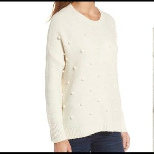 Madewell Ivory Bobble Pullover Crewneck Sweater